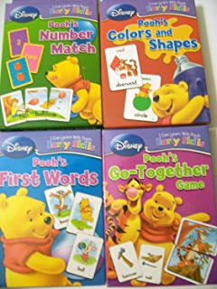 Disney I Can Learn with Pooh Early Skills Card Games ~ Complete Set (First Words, Number Match, Colors & Shapes, Go-Together Game)[Package may vary]