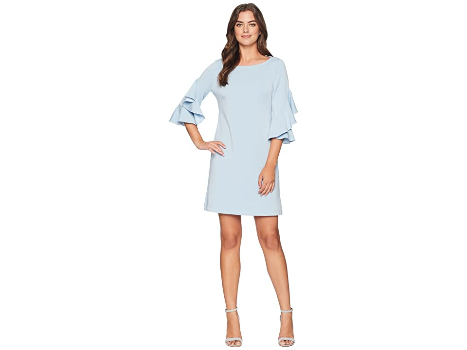 Taylor Double Ruffle Sleeve Shift Dress (Powder Blue) Women