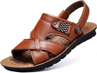 CHUIKUAJ Tongs Sandales Homme Flip Flops Pantoufles de Douche de Plage D'été/2 en 1 Sandales en Cuir Décontractées pour Ho...