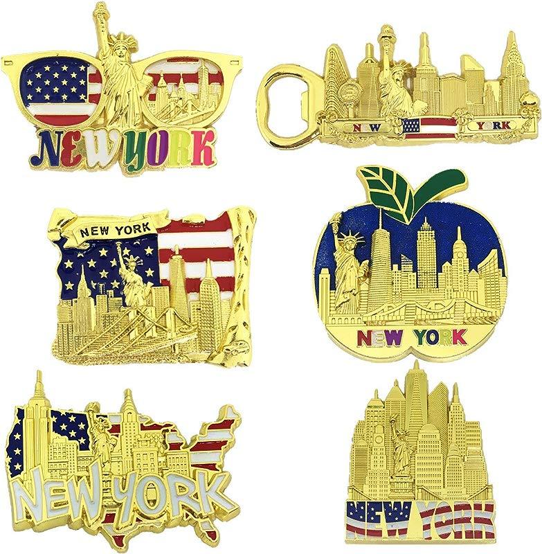 6 Pack Gold Bundle Fridge Magnets New York Souvenir Empire State Building Skylines Statue Of Liberty Big Apple USA Flag Bottle Opener Too