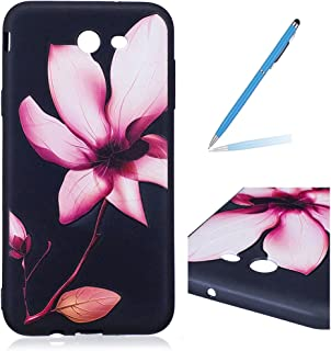 Trumpshop Smartphone Protective Case for Samsung Galaxy J7 (2017) SM-J727 + Lily Flower + Sculpture Design Ultra Soft Flexible TPU Silicone Cover Anti-Scratch Shockproof