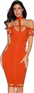 orange cut out bandage dress