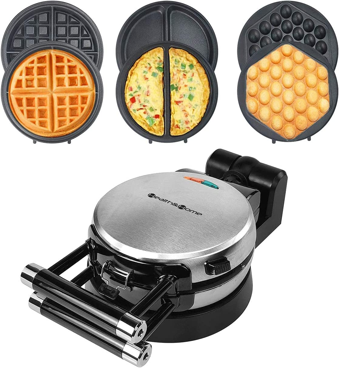 Health and Home 3-in-1 Waffle Maker, Omelet Maker, Egg Waffle Maker, 3 Removable Nonstick Baking Plates, Upgraded 360 Rotating Belgian Waffle Maker (Renewed)