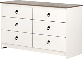 South Shore 12235 Plenny 6-Drawer Double Dresser White Wash and Weathered Oak