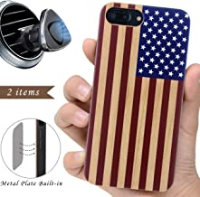 iProductsUS Wood Phone Case Compatible with iPhone 8Plus, 7Plus, 6Plus, 6s Plus and Magnetic Mount, American Flag Printed in USA, Built-in Metal Plate,TPU Bumper Protective Shockproof Covers (5.5