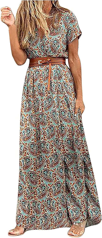 Summer Dresses Womens Casual Boho Dress Wrap V Neck Sundress Short Sleeve Maxi Skirt Floral Graphic Slit Cocktail Dress