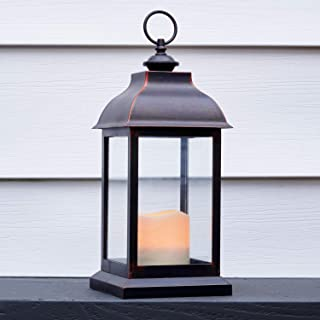 Outdoor LED Candle Lantern - 12 Inch Tall, Battery Powered, 6 Hour Timer, Waterproof, Rustic Bronze Finish, Hanging Hook, ...
