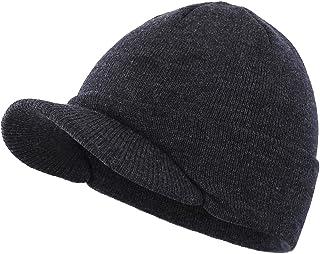 قبعة شتوية صغيرة دافئة مزدوجة الحياكة بحافة مطوية للرجال من هوم بريفير