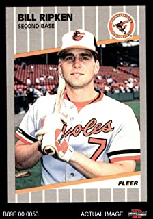 1989 Fleer # 616 SCR Bill Ripken Baltimore Orioles (Baseball Card) (Black Scribble Over Error) Dean's Cards 8 - NM/MT Orioles
