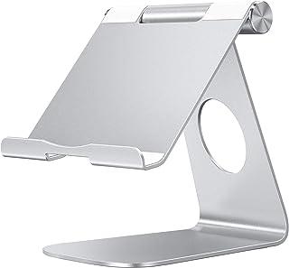 OMOTON Soporte para Tablet, Multi-Ángulo Ajustable Soporte de Aluminio para 2019 iPad Pro 9.7/10.2/10.5/12.9, iPad Mini 2/3 /4, Samsung y Otras Tablets, Máximo 13 Pulgadas, Plata
