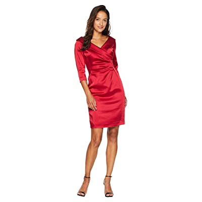 Tahari by ASL Petite Sleeved Portrait Collar Satin Dress (Lipstick Red) Women