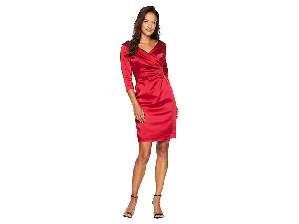 Tahari by ASL Petite Sleeved Portrait Collar Satin Dress (Lipstick Red) Women