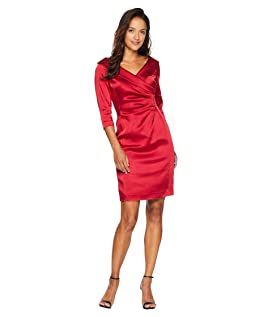 Petite Sleeved Portrait Collar Satin Dress