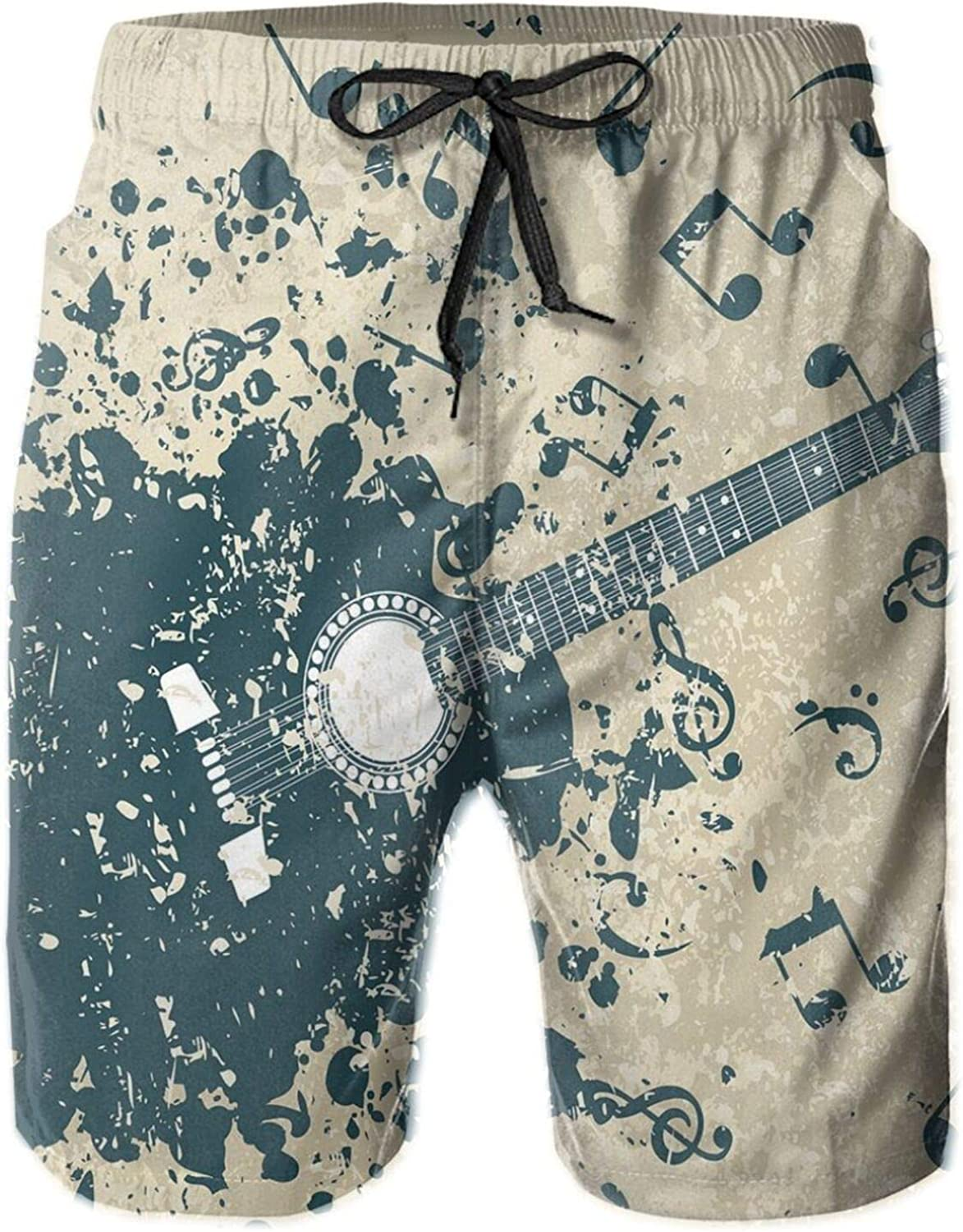 Acoustic Guitar On Retro Murky Background with Music Notes Melody Illustration Drawstring Waist Beach Shorts for Men Swim Trucks Board Shorts with Mesh Lining,L