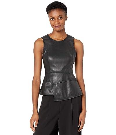 BCBGMAXAZRIA Faux Leather Peplum Top (Black) Women