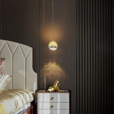 JoollySun Modern Gold Pendant Light: Mini Pendant Lighting Fixtures Dimmable LED Crystal Ball Hanging Lights for Kitchen Isla