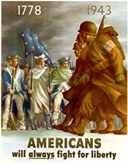 WPA War Propaganda Americans Will Always Fight for Liberty Cool Wall Decor Art Print Poster 12x18