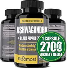 Ashwagandha Capsules 2700mg, 100% Pure Ashwagandha Root Powder & Black Pepper Extract Helps Natural Anxiety Relief for Adr...