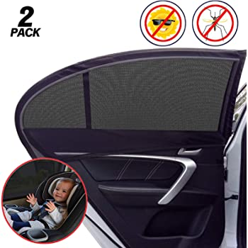 Universal Car Window Shade, 2 Pack Car Side Window Sun Shade, Sun Glare, UV Rays and Privacy Protection for Toddler Kids Baby Adult, Double Layer Design