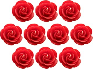 Shraddha Creation Floating Rose Decorative Designer Smokeless Candle, Red Color with Rose Fragrance (Set of 10)