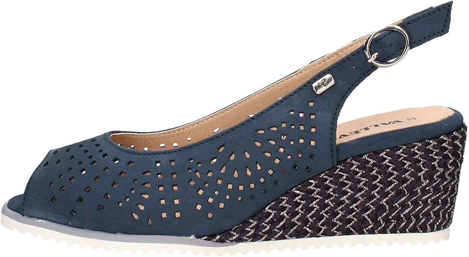 Vallegreen 36202 Moccasin Sandals bluee Womens Leather Wedge shoes