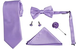 Brand Q Mens Five Piece Neck and Bow Tie Set with Cufflinks Lapel Pin and Hanky
