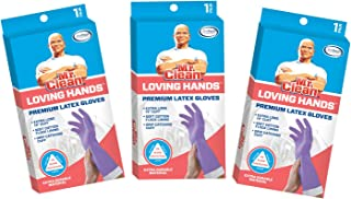 Mr. Clean Loving Hands Premium Latex Gloves Small 3 Pack, Purple