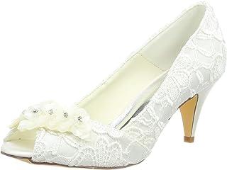 JIA JIA 5949420 Women's Bridal Shoes Peep Toe Cone Heel Lace Satin Pumps Satin Flower Rhinestone Wedding Shoes