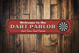 mengliangpu8190 Dart Parlor Welcome Sign Custom Good Times Good Friends Gift Metal Dart Board Game Room Man Cave Dorm Decor Quality Aluminum