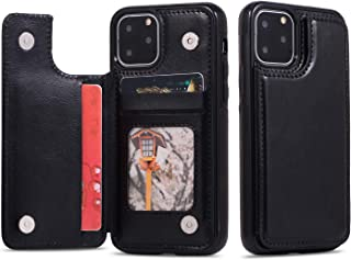 T Tersely Leather Wallet Card Case Cover for iPhone 11 Pro Max 6.5 Inch, Leather Wallet Slim Ultra Thin Magnetic Hard Cove...