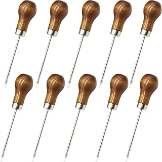 ROYHOO 10PCS Wooden Handle Scratch Awl for Leather Punch Hole or DIY Handmade Pin Punching