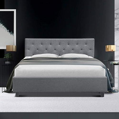 Queen Bed Frame, Artiss Fabric Platform Bed Base, Grey