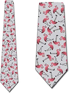 Retro Flamingo Repeat Tie - Mens Pink Bird Necktie