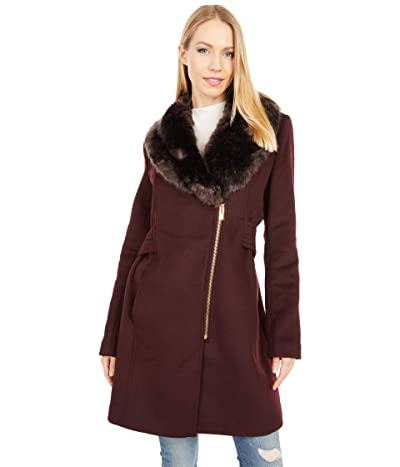 Via Spiga Wool Coat with Faux Fur Lapel Collar (Burgundy) Women