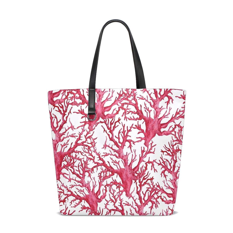 人質借りる呼び出すトートバッグ かばん ポリエステル+レザー コーラル柄 サンゴの色 両面使える 大容量 通勤通学 メンズ レディース