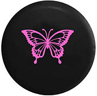 Pink Butterfly Girls Monarch Endangered Jeep Spare Tire Cover Vinyl Black 29 in