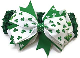 St Patrick's Day Stretch Baby Headband Lime White & Green