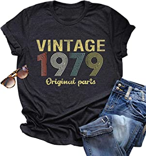 Vintage 1979 Rock Music T Shirt Tops for Women 40 Birthday Gift Short Sleeve Casual Tees Cute Letter Graphic T-Shirt