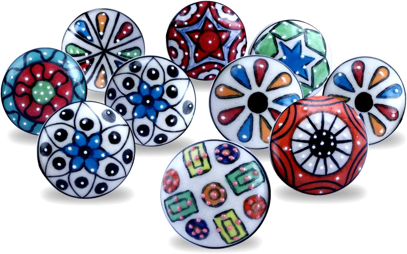 20 Ceramic Knobs with Set of 6 Coaster Combo Offer Door Knobs Cabinet Knobs Knobs for Furniture Dresser Knobs and Pulls Free Coaster