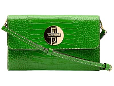 Frances Valentine Kelly Bright Croc Crossbody (Green) Cross Body Handbags