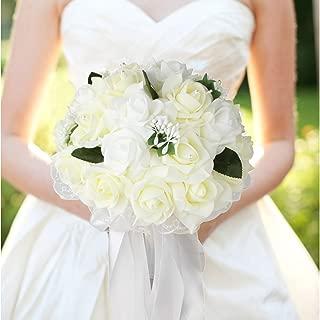 vLoveLife Wedding Bouquet White & Ivory Artificial Rose Flowers Bridal Bridesmaid Bouquets Handmade Posy Pearl Rhinestone Ribbon Decor