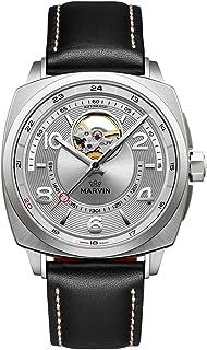 スイス製 Marvin 機械的ムーブメント ステンレスケース 黒色の真皮時計バンド 銀色透かし彫り文字盤 男性 メンズ ファッション腕時計