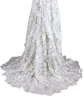 Aisunne African Lace Fabrics 5 Yards Nigerian French Lace Fabric White with 3D Flower Fashion Embroidered Beading and Sequin for Wedding Party Dresses (White)