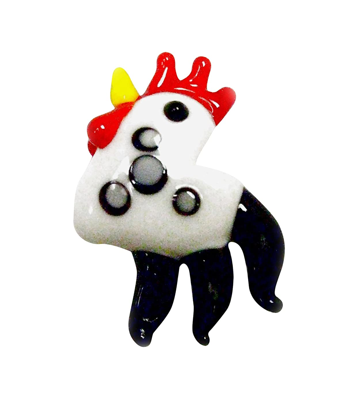 Linpeng Lampwork Glass Novelty Bead, 40 x 30 x 12mm, White Rooster