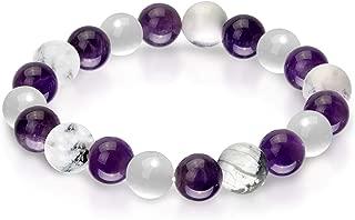Triple Stone Ultimate Sleep Bracelet – Insomnia Relief Bracelet for Sleeplessness– Sleep Aid Bracelets – Amethyst – Howlite – Selenite – Stone Bead Bracelet (10mm)
