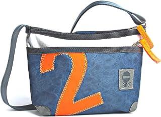 360° Grad Umhängetasche Damen Segeltuch-Tasche Deern Lütt blau weiß mit Zahl Neon Orange  wetterfest, maritim