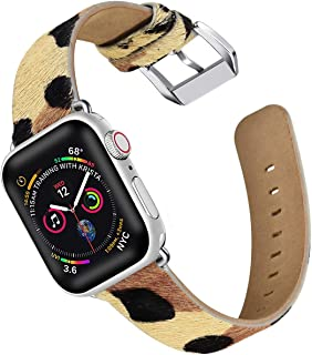 Libra Gemini Compatible with Apple Watch Band 38mm 40mm 42mm 44mm,Pony Hair Leopard Pattern Apple Watch Band Leather Replacement Iwatch Band Women Apple Watch Series 4/3/21 (38mm/40mm)