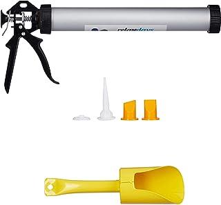 Relaxdays Pistola de Silicona, Kit de Accesorios, Herramienta de Sellado, para Cartuchos, 1 Set, Plateado & Negro