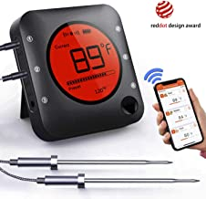 Smart Bluetooth BBQ Grill Thermometer Wireless Bluetooth 5.0 Barbecue Meat Thermometer with 2 Stainless Steel Probes, APP Smart Alarm, Large LCD Display for Grilling Smoker, Barbecue, Outdoor Cooking