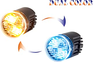 Unicorn Lighting EC01 Hideaway Warning Emergency Strobe Light Surface Mount [SAE class 1] [Dual Color] [IP68] for Police and Tow Truck Construction Vehicle Amber Blue